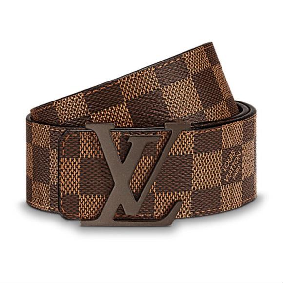 Men\u2019s Louis Vuitton LV Initials Belt Brown